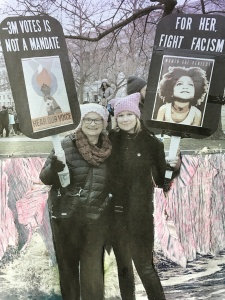 Women's March, Mom and daughter at women's march, January 22 2017, fascism, rachelrenovation
